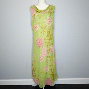 Studio C Green/Pink Floral Lined Maxi Dress
